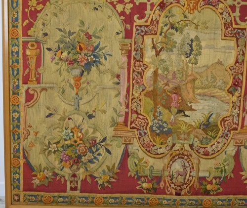 Louis XV - 18th Century Wool Tapestry with Floral Decorations and River Landscape