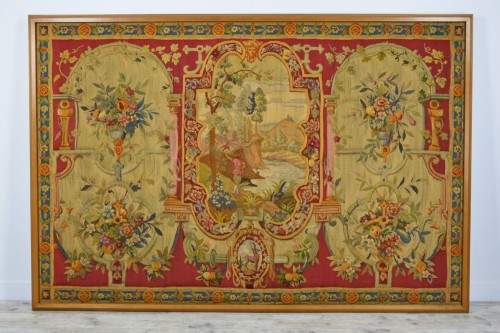 Antiquités - 18th Century Wool Tapestry with Floral Decorations and River Landscape