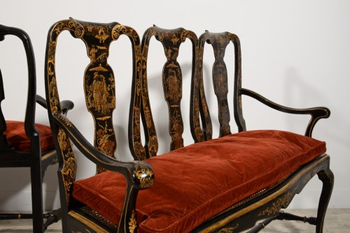 Pair of sofas in carved walnut and lacquered chinoiserie, Venice, early 18t -
