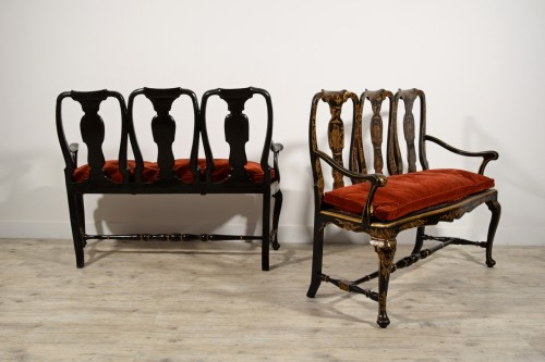 - Pair of sofas in carved walnut and lacquered chinoiserie, Venice, early 18t