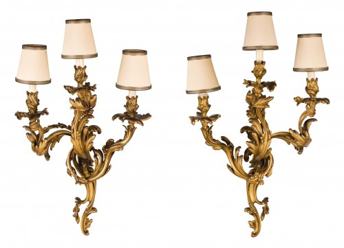 19th Century, Pair Of French Louis XV Style Three-light Gilt Bronze Wall Sc