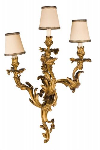 Lighting  - 19th Century, Pair Of French Louis XV Style Three-light Gilt Bronze Wall Sc