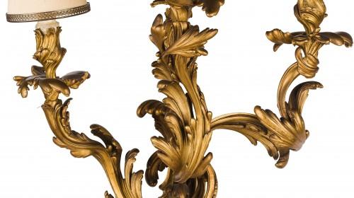 19th Century, Pair Of French Louis XV Style Three-light Gilt Bronze Wall Sc -