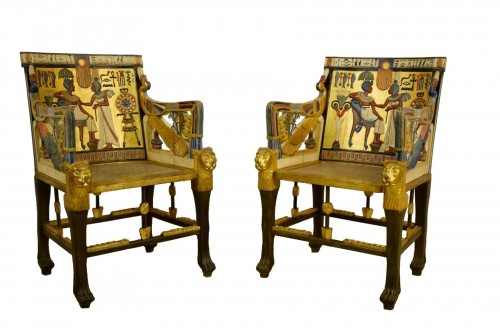 20th Century, Pair Of Lacquered Giltwood Armchairs In Egyptian Style
