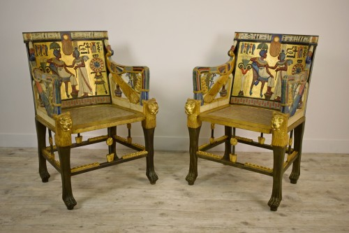 20th Century, Pair Of Lacquered Giltwood Armchairs In Egyptian Style - Seating Style