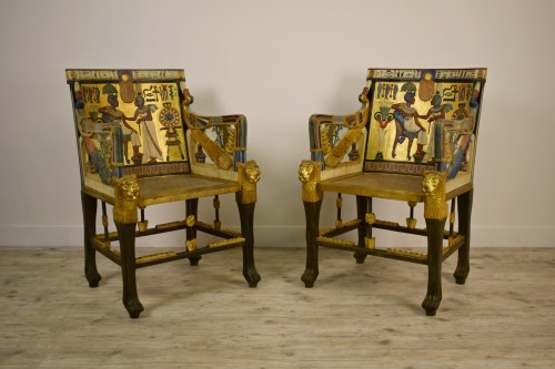 Seating  - 20th Century, Pair Of Lacquered Giltwood Armchairs In Egyptian Style