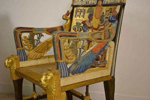 20th century - 20th Century, Pair Of Lacquered Giltwood Armchairs In Egyptian Style