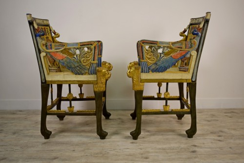 20th Century, Pair Of Lacquered Giltwood Armchairs In Egyptian Style -