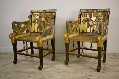- 20th Century, Pair Of Lacquered Giltwood Armchairs In Egyptian Style