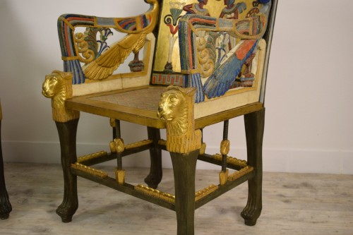 Antiquités - 20th Century, Pair Of Lacquered Giltwood Armchairs In Egyptian Style