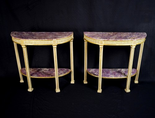 Furniture  - 18th Century, Pair Of Italian Neoclassical Lacquered And Giltwood Consoles