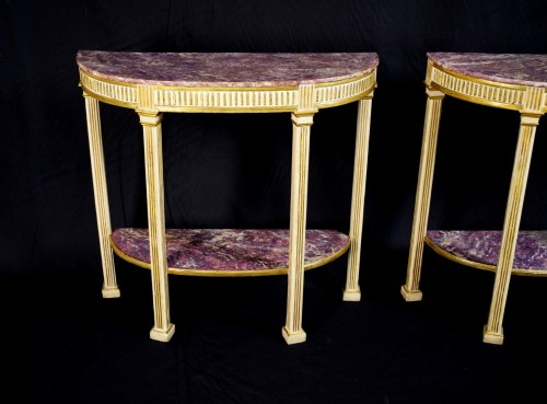 18th century - 18th Century, Pair Of Italian Neoclassical Lacquered And Giltwood Consoles