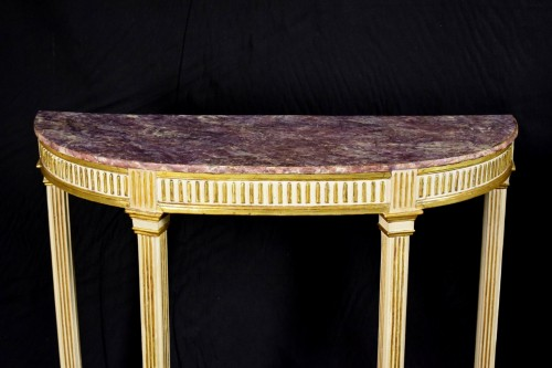18th Century, Pair Of Italian Neoclassical Lacquered And Giltwood Consoles  - Louis XVI