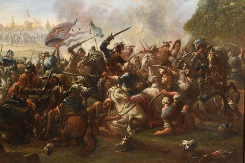Paintings & Drawings  - 17th Century, Italian Battle Between Christian And Turkish Cavalry
