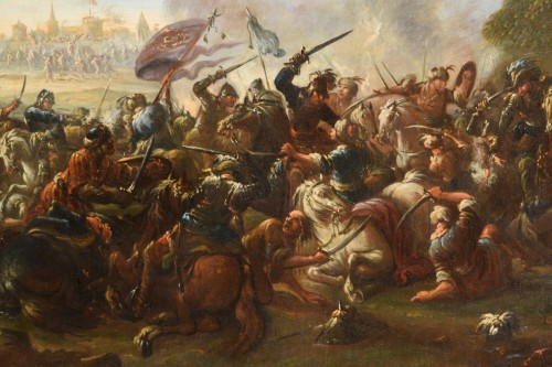 17th century - 17th Century, Italian Battle Between Christian And Turkish Cavalry