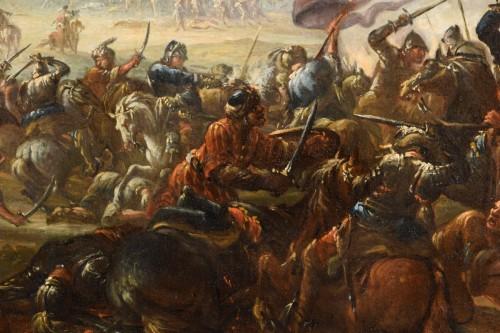 Antiquités - 17th Century, Italian Battle Between Christian And Turkish Cavalry