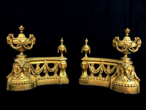 18th century - 18th Century, Pair Of French Gilt Bronze Fireplace Chenets