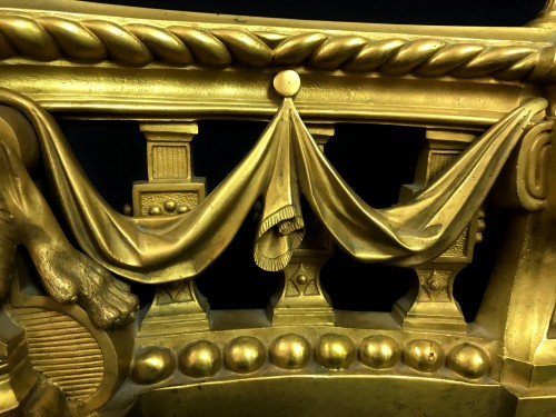 18th Century, Pair Of French Gilt Bronze Fireplace Chenets - Louis XVI