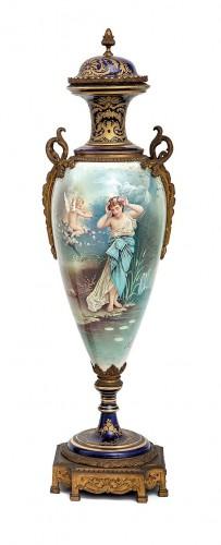 19th Large Ormolu Mounted Sèvres Stile Porcelain Cobalt-blue Vase