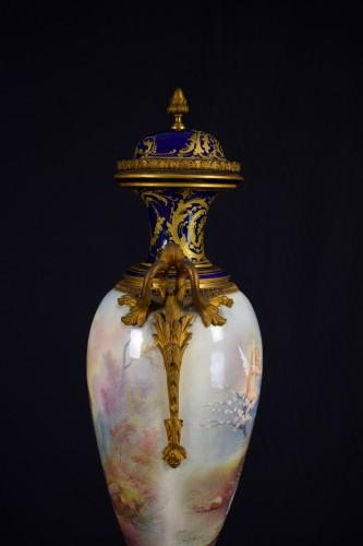 19th Large Ormolu Mounted Sèvres Stile Porcelain Cobalt-blue Vase  -