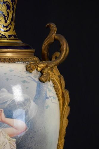 - 19th Large Ormolu Mounted Sèvres Stile Porcelain Cobalt-blue Vase
