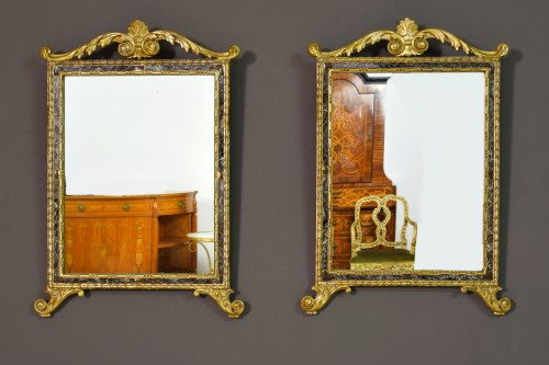 18th Century, Pair Of Italian Neoclassical Carved And Gilded Wood Mirrors - Mirrors, Trumeau Style Louis XVI