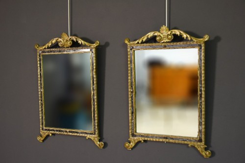 Mirrors, Trumeau  - 18th Century, Pair Of Italian Neoclassical Carved And Gilded Wood Mirrors