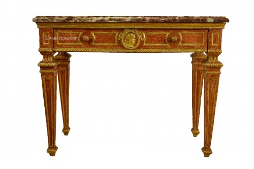 Carved, Golden And Lacquered Wood Console With Red Background, Marble Top