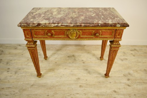 Carved, Golden And Lacquered Wood Console With Red Background, Marble Top -