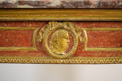 Empire - Carved, Golden And Lacquered Wood Console With Red Background, Marble Top