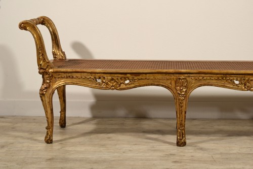 Seating  - Italian Carved And Gilded Wood Bench, Naples, 19th Century