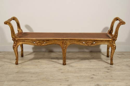 Italian Carved And Gilded Wood Bench, Naples, 19th Century -