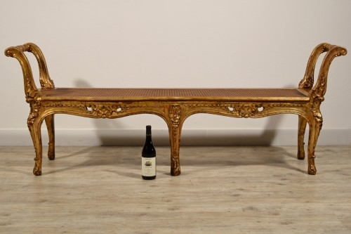 Antiquités - Italian Carved And Gilded Wood Bench, Naples, 19th Century