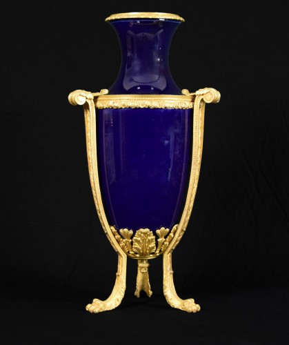 Decorative Objects  - 19th century gilt metal mounted Neoclassical blue porcelain vase