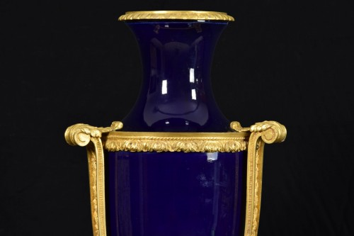 19th century gilt metal mounted Neoclassical blue porcelain vase -