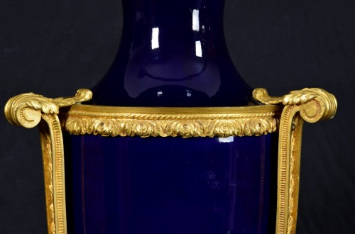 - 19th century gilt metal mounted Neoclassical blue porcelain vase