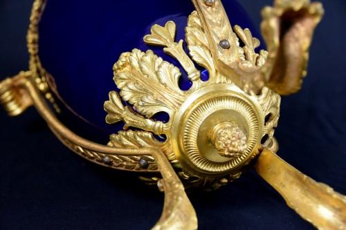 Antiquités - 19th century gilt metal mounted Neoclassical blue porcelain vase
