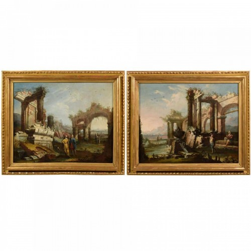 18th Century, Pair Of Italian Landscapes With Ruins By Gaetano Ottani