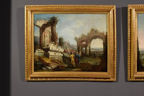 18th Century, Pair Of Italian Landscapes With Ruins By Gaetano Ottani - Paintings & Drawings Style
