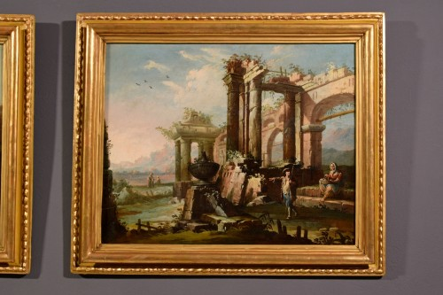 Paintings & Drawings  - 18th Century, Pair Of Italian Landscapes With Ruins By Gaetano Ottani
