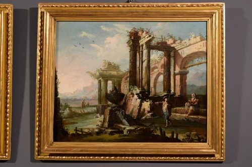18th century - 18th Century, Pair Of Italian Landscapes With Ruins By Gaetano Ottani