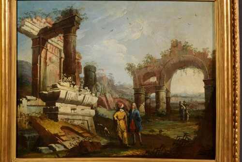 18th Century, Pair Of Italian Landscapes With Ruins By Gaetano Ottani -