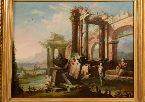 - 18th Century, Pair Of Italian Landscapes With Ruins By Gaetano Ottani
