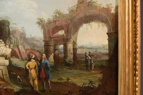 Antiquités - 18th Century, Pair Of Italian Landscapes With Ruins By Gaetano Ottani