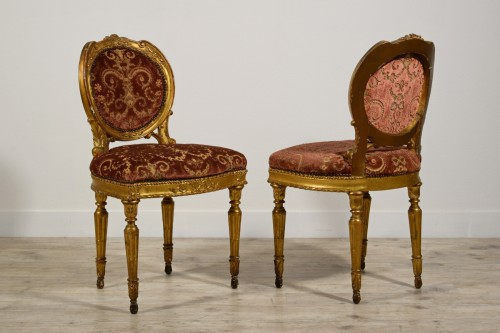 Seating  - Pair of neoclassical carved and gilded wood chairs, Italy, late 18th century