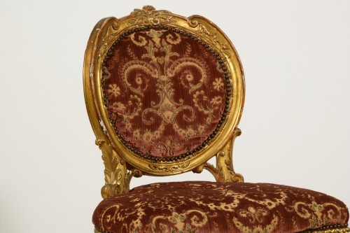 Pair of neoclassical carved and gilded wood chairs, Italy, late 18th century - Louis XVI