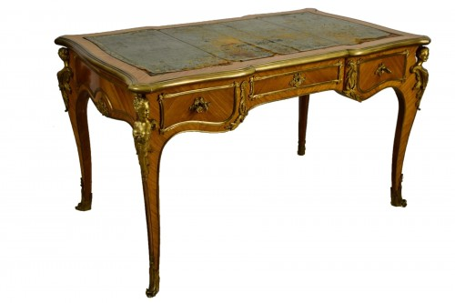 19th Century, French Louis XV Style Wood Centre Desk With Gilt Bronze