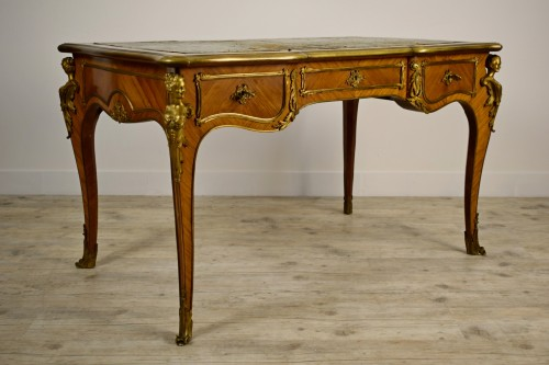 Furniture  - 19th Century, French Louis XV Style Wood Centre Desk With Gilt Bronze