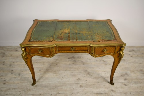 19th century - 19th Century, French Louis XV Style Wood Centre Desk With Gilt Bronze