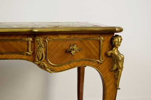 19th Century, French Louis XV Style Wood Centre Desk With Gilt Bronze  -